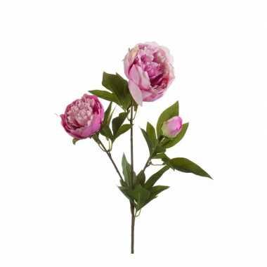 Roze pioenrozen kunst tak 70 cm