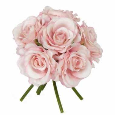 Roze rozen boeket 6 stuks