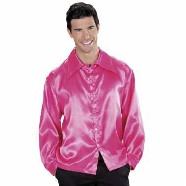 Roze satijnen disco blouse