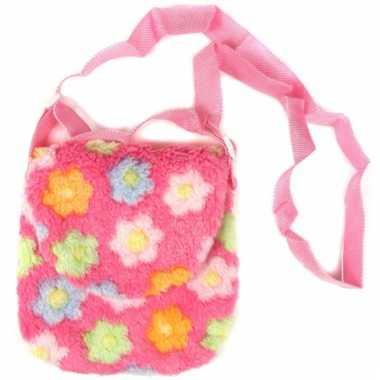 Roze schoudertas met bloemen
