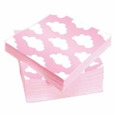 Roze servetten met wolken 20 stuks