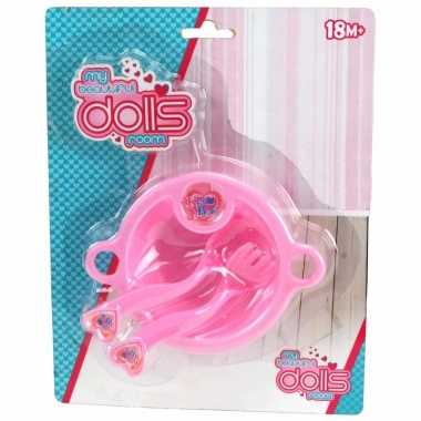 Roze servies setje voor poppen
