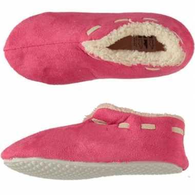 Roze spaanse sloffen/pantoffels stippen voor meisjes maat 33-34