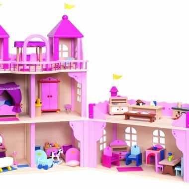 Roze speelgoed paleis van hout