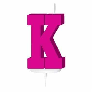 Roze taart kaarsje letter k