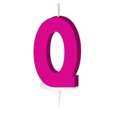 Roze taart kaarsje letter q