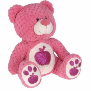 Roze teddybeer met glitters 25 cm