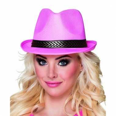Roze trilby hoed met gouden band