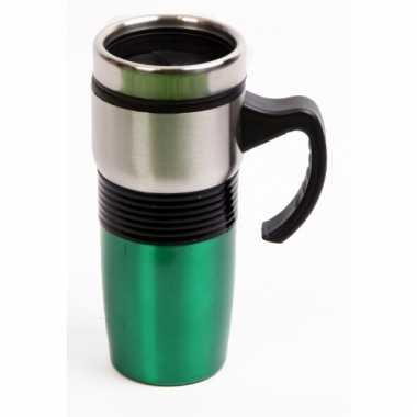 Rvs koffiebeker groen voor onderweg