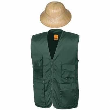 Safari explorer bodywarmer en helm groen voor volwassenen