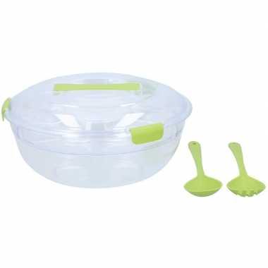 Salade bewaarkom/lunchbox met vork en lepel