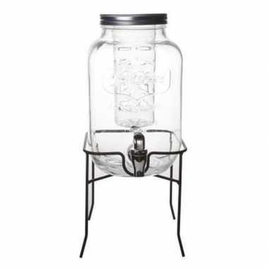 Sap / dranken dispenser met infuser op voet glas 4 liter