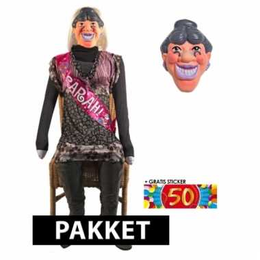 Sarah 50 jaar pop en masker 140 cm