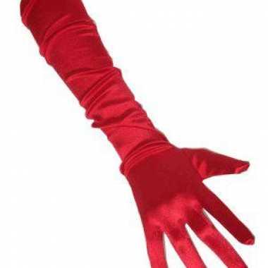Satijnen handschoenen rood