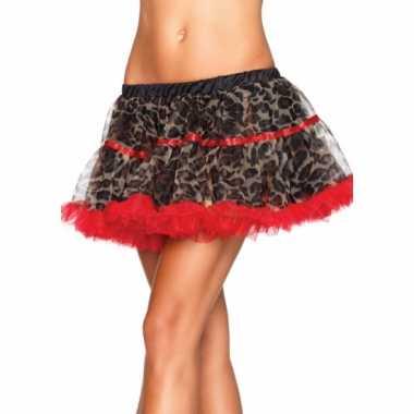 Satin petticoat luxe rood met luipaard print