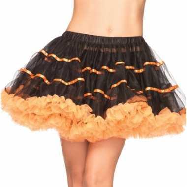Satin petticoat luxe zwart met oranje