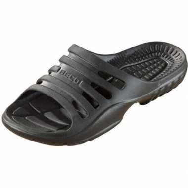 Sauna/zwembad slippers zwart voor dames