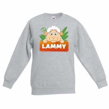 Schaap dieren sweater grijs voor kinderen