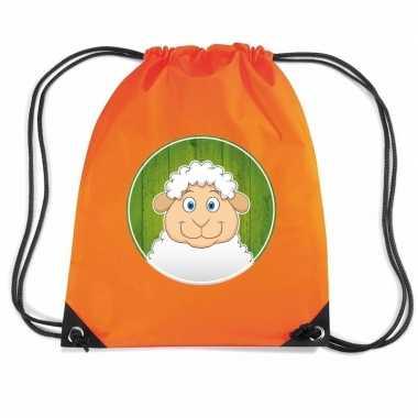 Schaap dieren trekkoord rugzak / gymtas oranje voor kinderen