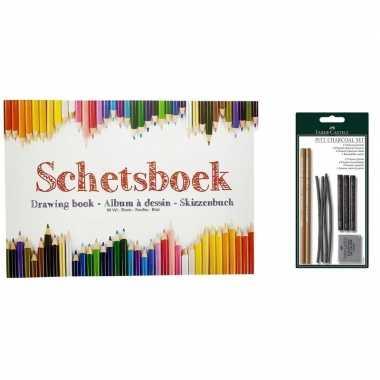 Schetsboek a4 papier met houtskool tekenpakket