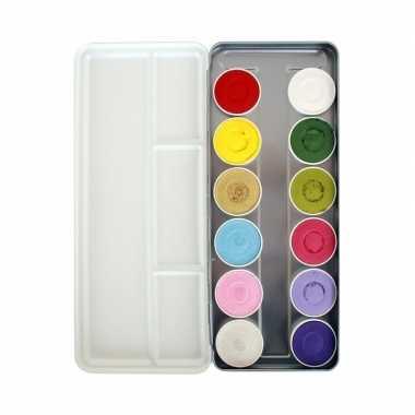 Schmink palet waterbasis 12 kleuren