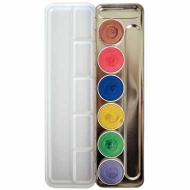 Schmink palet waterbasis 6 metallic kleuren