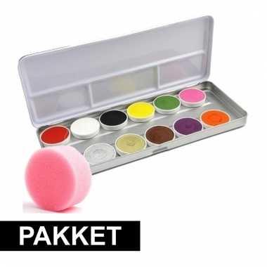 Schmink setje met 12 kleuren en sponsje