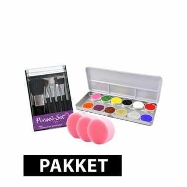 Schmink setje met 12 kleuren, kwasten en sponsjes