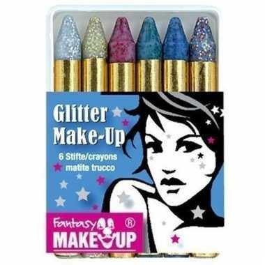 Schminkstiften 6 kleuren glitter