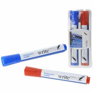Schoolbord stiften / whiteboard rood en blauw met wisser