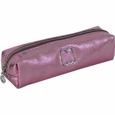 Schooletui/pennenetui metallic roze 22 cm marshmallow voor meisjes