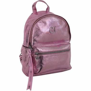 Schooltas/rugtas roze metallic/glitter 25 x 30 cm voor meisjes