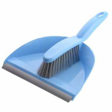 Schoonmaak stoffer en blik blauw/grijs