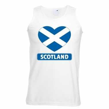 Schotland hart vlag mouwloos shirt wit heren