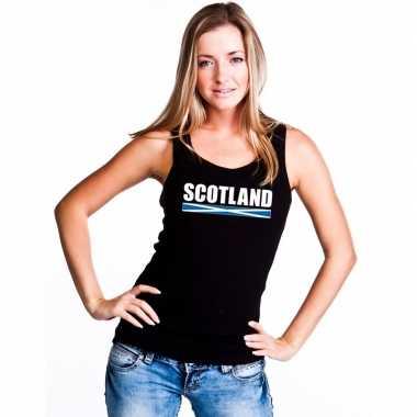 Schotland supporter mouwloos shirt/ tanktop zwart dames