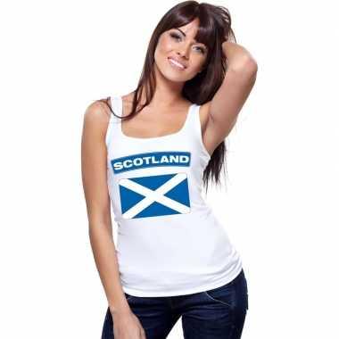 Schotland vlag mouwloos shirt wit dames