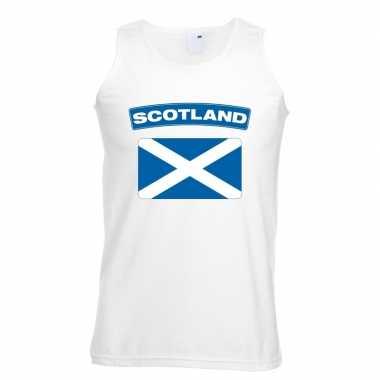 Schotland vlag mouwloos shirt wit heren