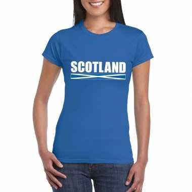 Schotse supporter t-shirt blauw voor dames