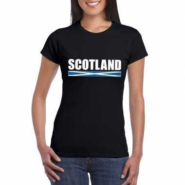 Schotse supporter t-shirt zwart voor dames