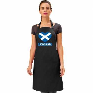 Schotse vlag in hart keukenschort/ barbecueschort zwart heren en dame