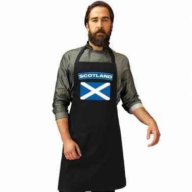 Schotse vlag keukenschort/ barbecueschort zwart heren en dames