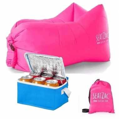 Seatzac lucht zitzak roze inclusief koeltas