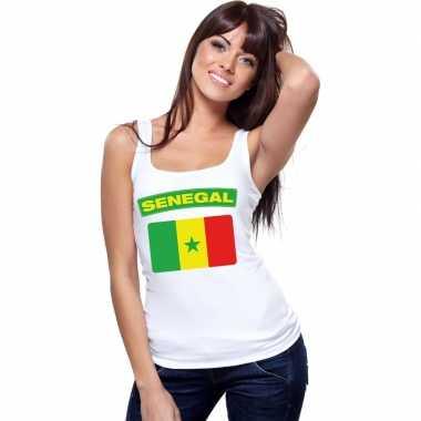 Senegal vlag mouwloos shirt wit dames