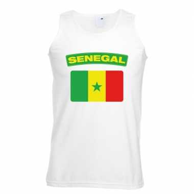 Senegal vlag mouwloos shirt wit heren