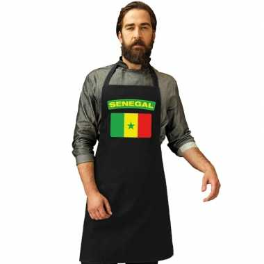 Senegalese vlag keukenschort/ barbecueschort zwart heren en dames