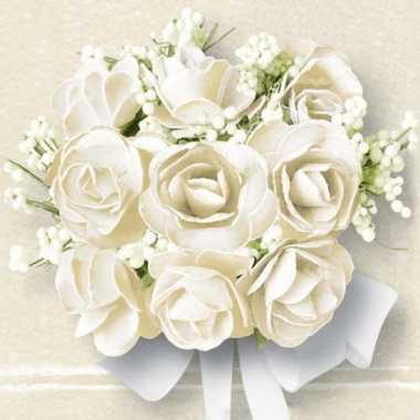 Servetjes met witte rozen 20 stuks