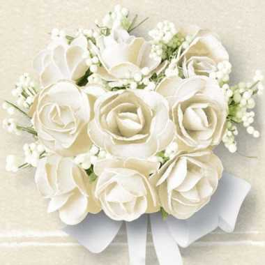 Servetjes met witte rozen 60 stuks bruiloft thema