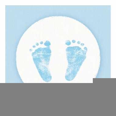Servetten baby voetjes print jongen blauw/wit 3-laags 20 stuks