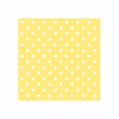 Servetten gele witte stippen 3-laags 20 stuks