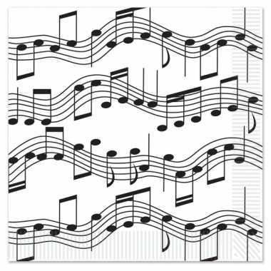 Servetten muzieknoten 16 stuks